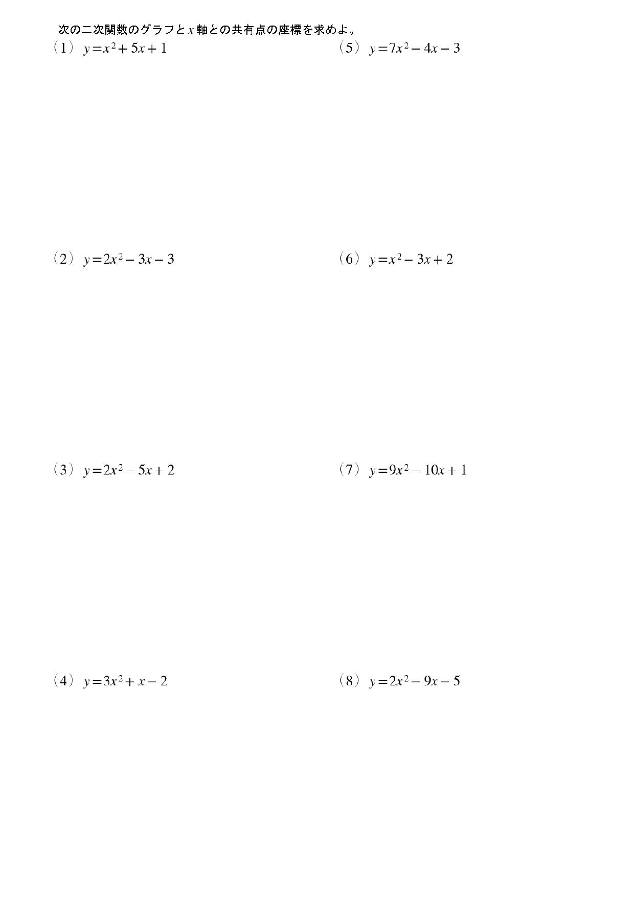 二次関数とx軸との共有点