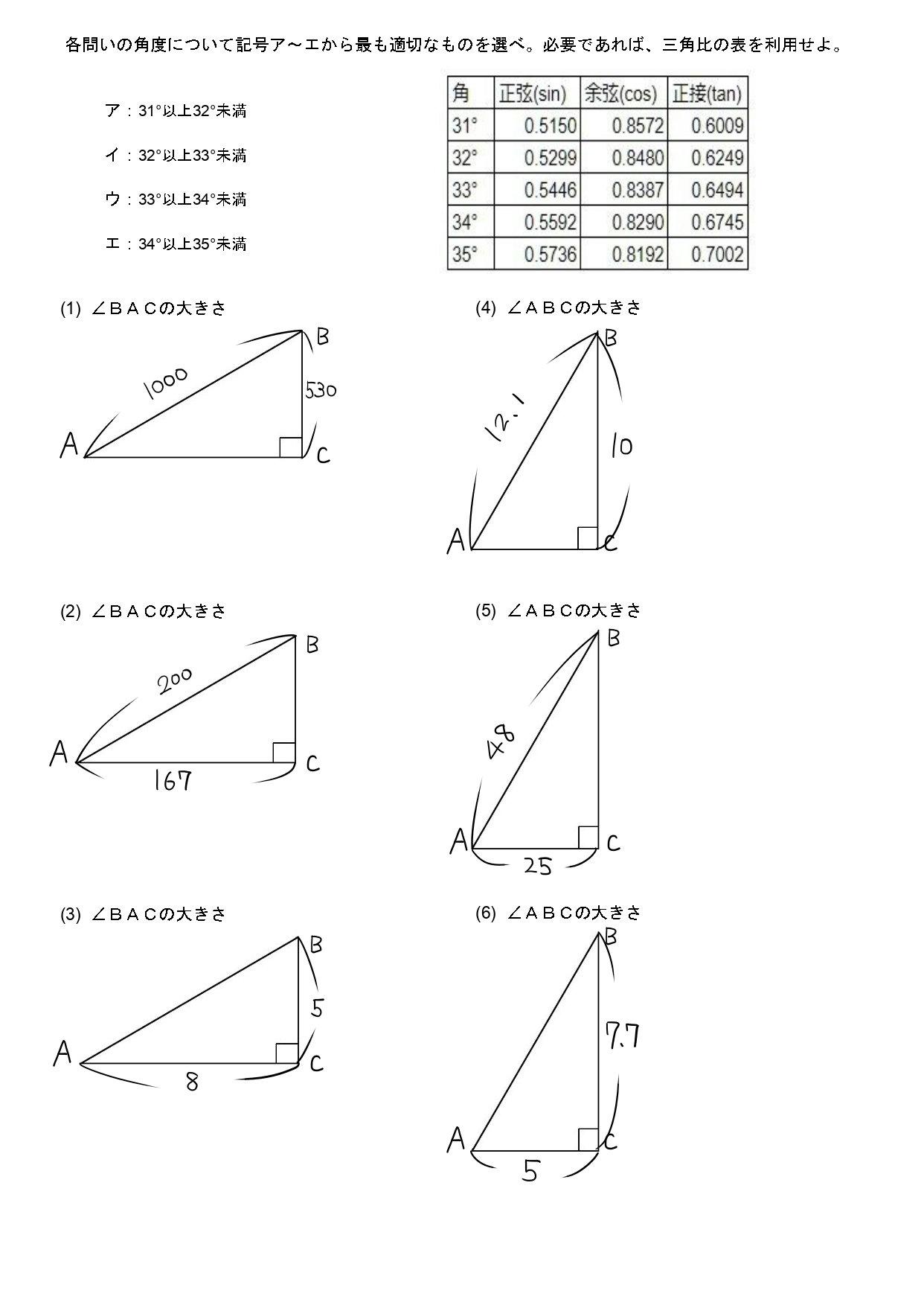三角比の表を利用して角度を求める