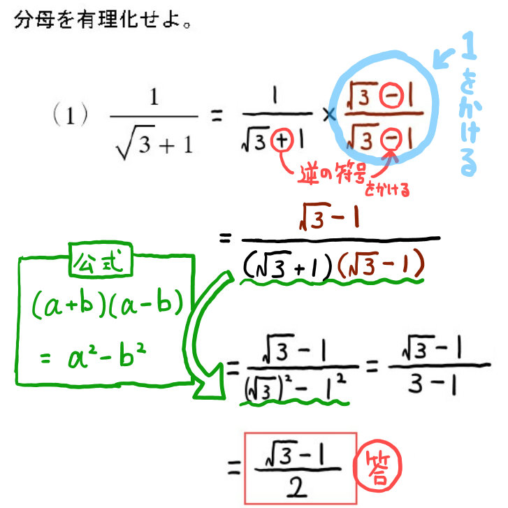 高卒認定試験数学の分母の有理化